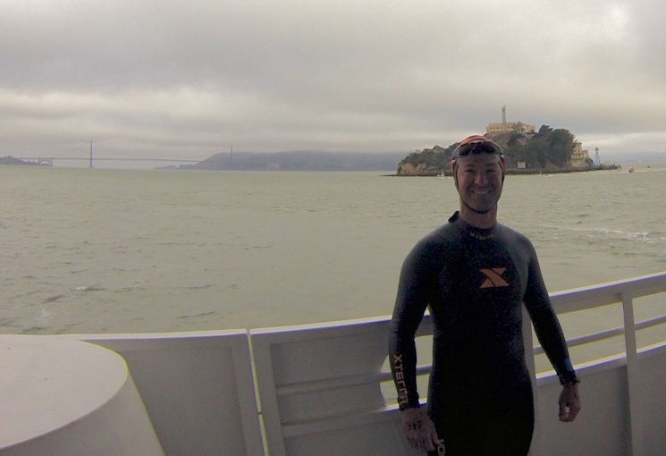 Air Force Master Sgt. Andrew Mujica participated in the June 21, 2015, Alcatraz Challenge swim in San Francisco to raise money for research into a neuromuscular disease that affects his father. (Courtesy photo by Air Force Master Sgt. Andrew Mujica)