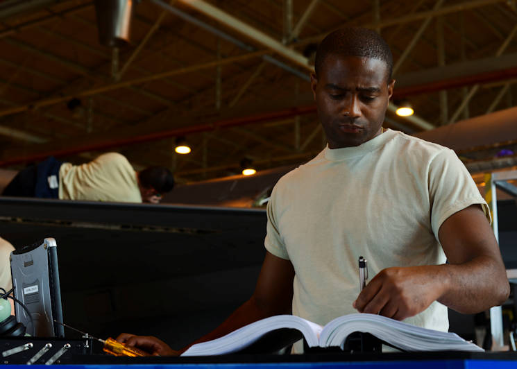 July 29, 2015 - U.S. Air Force Tech. Sgt. Troy Washington, 31st Maintenance Squadron electrical/environmental noncommissioned officer in charge, balances work and education to reach his goals. With the help of the education center, Washington believes every Airman can reach their educational milestones. (U.S. Air Force photo by Senior Airman Austin Harvill)
