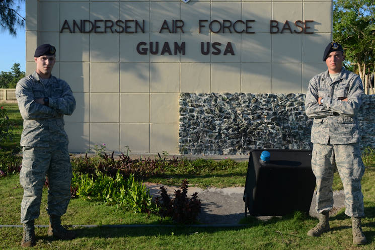 U.S. Air Force Airmen 1st Class Colby, left, and Travis Wakefield, 36th Security Forces Squadron entry controllers, stand at the entry to Andersen Air Force Base, Guam, July 29, 2015. While they are brothers in arms who serve together, they are also fraternal twins who have worked together since entering the Air Force in October 2013. (U.S. Air Force photo by Airman 1st Class Alexa Ann Henderson)