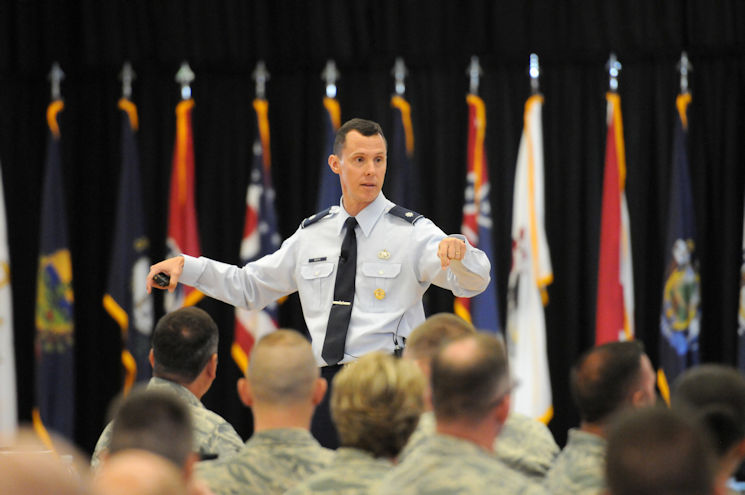Air Force Lt. Col. Kevin Basik, Air Force representative to the Secretary of Defense for Military Professionalism, talks about better ways to communicate as a supervisor during the Air National Guard's Enlisted Leadership Symposium, at Camp Dawson, W. Va., Aug. 18, 2015. ELS is designed for enlisted Airmen of all ranks to receive professional development that can be used to better enhance Airmen's careers. (U.S. Air National Guard photo by Master Sgt. David Eichaker)