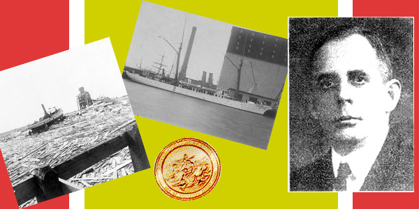U.S. Coast Guard courtesy image with Capt. Charles S. Root; the Revenue Cutter Galveston; the Galveston, TX waterfront after being hit by the devastating hurricane in 1900; and, the Coast Guard's Gold Lifesaving Medal.