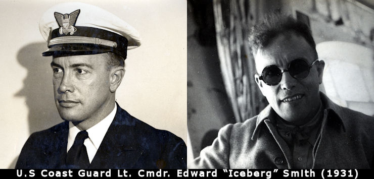"Left -Official service photograph of Lt. Cmdr. Edward ""Iceberg"" Smith taken before the historic 1931 Graf Zeppelin Arctic expedition. Right - Iceberg Smith taking observations from the comfort of Graf Zeppelin's passenger gondola. (Image created by USA Patriotism from photos courtesy of the U.S. Coast Guard)"