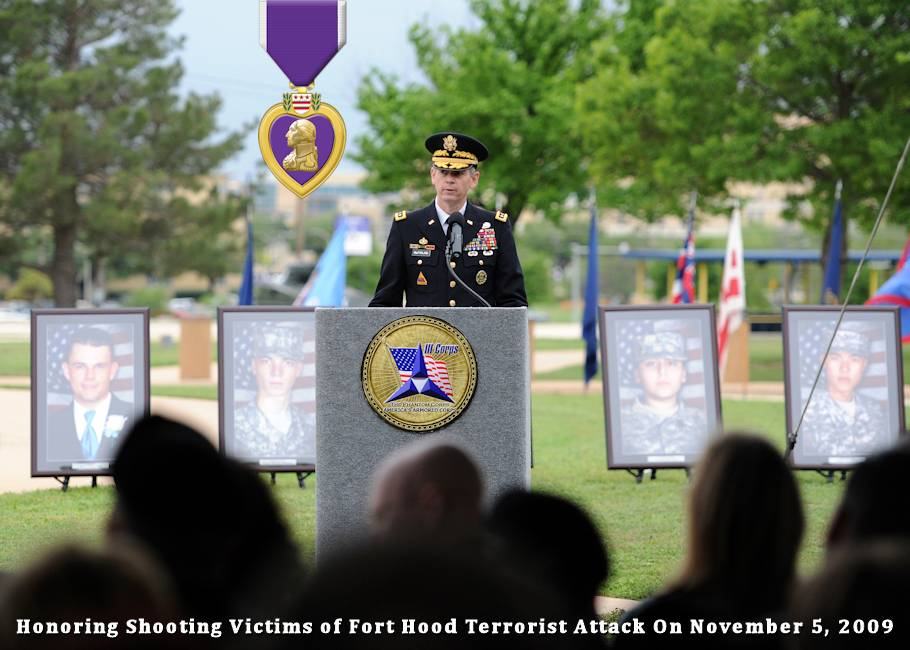 Army Lt. Gen. Sean B. MacFarland, commanding general of the 3rd Corps and Fort Hood, Texas, offers remarks during the Purple Heart and Defense of Freedom Medal ceremony on the base, April 10, 2015 ... honoring the 13 people killed and more than 30 injured in the 2009 shooting rampage by convicted terrorist, Nidal Malik Hasan, who was a U.S. Army major at the time of his traitorous act. (Image created by USA Patriotism! from U.S. Army photo by Daniel Cernero)