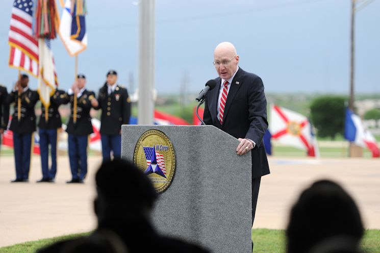 Retired Gen. Bob Cone, former III Corps and Fort Hood commanding general, offers remarks during the Fort Hood Purple Heart and Defense of Freedom Medal Ceremony on April 10, 2015 at III Corps Headquarters, Fort Hood, Texas. (U.S. Army photo by Daniel Cernero, III Corps and Fort Hood Public Affairs)