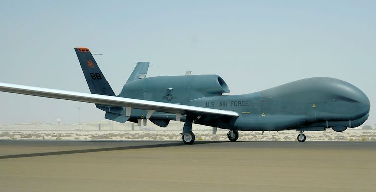 An RQ-4 Global Hawk prepares to taxi at an undisclosed location in Southwest Asia March 8, 2015. The Global Hawk's mission is to provide a broad spectrum of ISR collection capability to support joint combatant forces in worldwide peacetime, contingency and wartime operations. (U.S. Air Force photo by Tech. Sgt. Beatrice Brown)