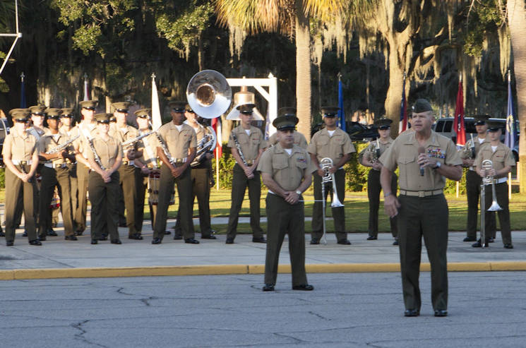 Gen. Robert Neller, commandant of the Marine Corps, speaks during a morning colors ceremony at Marine Corps Recruit Depot Parris Island, S.C., Oct. 16, 2015. The depot is celebrating 100 years of making Marines. (U.S. Marine Corps photo by Sgt. Melissa Karnath)