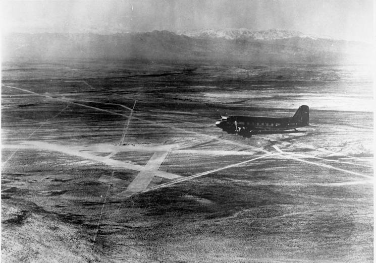 Western Air Express Airfield, pictured here in 1941, was a central hub for passengers and mail going to and from Los Angeles and Salt Lake City. Today, Western Air Express Airfield has become Nellis Air Force Base. (U.S. Air Force photo by 94th Airlift Wing)