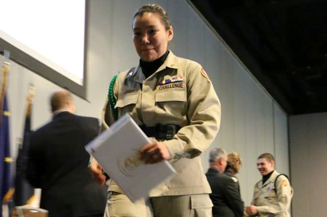 Bernice Morgan graduated from the residential portion of the National Guard Alaska Military Youth Academy on February 27, 2015. (U.S. Air Force photo by Staff Sgt. Robert Barnett)