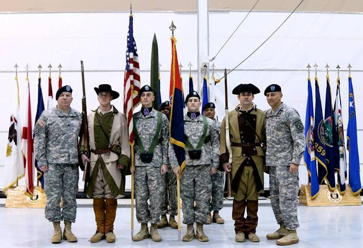 "February 24, 2015 - Maj. Gen. Townsend and Command Sgt. Maj. Lewis is pictured with the Patriots' Color Guard symbolizing the Continental Army Soldiers. A values based Soldier fighting for the ""Army of the Free"". (U.S. Army photo by Sgt. David Edge)"