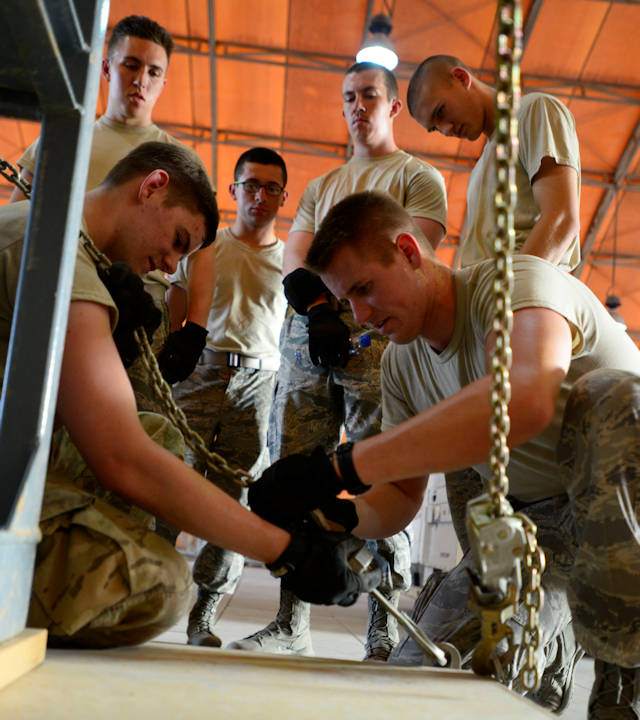 U.S. Air Force Academy cadets received hands-on training during a visit to an undisclosed location in Southwest Asia, June 10, 2015. The top 100 cadets who perform well, both academically and militarily, are selected to participate in the Operation Air Force program at deployed locations. (U.S. Air Force photo by Senior Airman Racheal E. Watson)