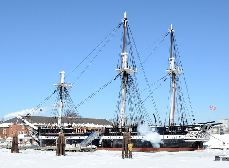 February 20, 2015 - Sailors assigned to USS Constitution fire a round from the ship's saluting battery to commemorate the bicentennial anniversary of Old Ironsides' dual victory against the Royal Navy ships HMS Cyane and HMS Levant in its final battle of the War of 1812. The battle, which took place on Feb. 20, 1815 near the Portuguese archipelago of Madeira, was fought three days after the U.S. Senate ratified the Treaty of Ghent, which officially ended the war. (U.S. Navy photo by Mass Communication Specialist 2nd Class Peter Melku)