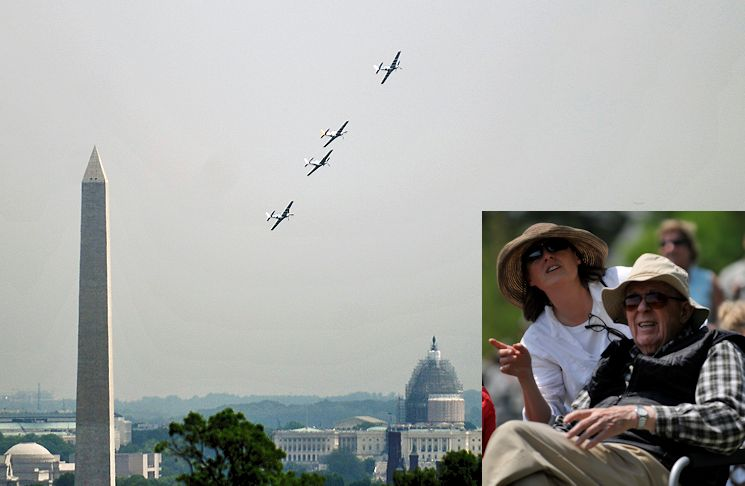 May 8, 2015 - World War II Army veteran Carl Anderson, 91, and his daughter Martha Perry watch the Arsenal of Democracy Flyover from Joint Base Myer-Henderson Hall's Whipple Field that is adjacent to Arlington National Cemetery,  immediately across the Potomac River from Washington, D.C. Anderson, a paratrooper who jumped during D-Day, was part of a crowd of several hundred spectators to watch vintage military aircraft which commemorated the 70th anniversary of Victory in Europe Day. (Image created by USA Patriotism! from Joint Base Myer-Henderson Hall PAO photos by Jim Dresbach)