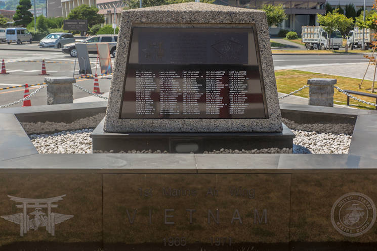"August 24, 2016 - U.S. Navy Seabees with Headquarters and Headquarters Squadron Facilities adopted the 1st Marine Aircraft Wing Vietnam Memorial at Marine Corps Air Station Iwakuni, Japan, to commemorate the Vietnam War and its fallen heroes. Constructed in May 1972, the memorial has a black and red torii standing between it and the setting sun to honor the fallen, and symbolizes the friendship and support of our Japanese neighbors. Located within the emblazoned names on the monument are words saying ""In memoriam, with grateful remembrance for those who gave their lives before us, we dedicate this plaque and our lives that their sacrifice may never be in vain. We commend their souls to Almighty God. May all who read these words rededicate their lives to the preservation of freedom which others have bought for us."" (U.S. Marine Corps photo by Lance Cpl. Aaron Henson)"