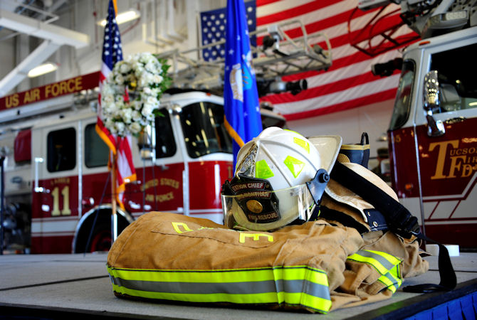 September 9, 2016 - A bunker display rests on a stage during a 9/11 remembrance ceremony held at Davis-Monthan Air Force Base, Arizona. The ceremony was held to honor and remember all the lives lost during the Sept. 11, 2001 terrorist attacks. (U.S. Air Force photo by Senior Airman Cheyenne A. Powers)