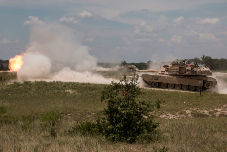 une 30, 2016 - Three M1A2 Abrams tank crews from Company B, 3rd Battalion, 8th Cavalry Regiment, 3rd Armored Brigade Combat Team, 1st Cavalry Division, engage targets at Crittenberger Multipurpose Range Complex during a series of gunnery tables. As a part of an integrated approach to warfare, Abrams tanks, along with well-armed, well-trained tank crews are a valuable asset to the United States Army as a fighting force. (U.S. Army photo by Staff Sgt. Leah Kilpatrick)