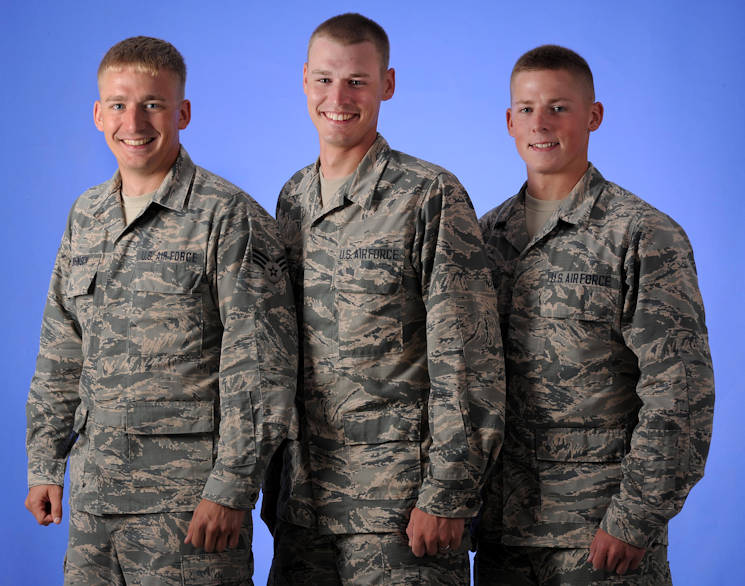 August 3, 2016 - Three brothers, Ethan (left), Jubal (middle) and Nathaniel Johnson (right) received orders to train at Sheppard Air Force Base, Texas, at the same time; two assigned to the 361st Training Squadron and the other to the 366th Training Squadron. Ethan trained for Explosive Ordnance Disposal, Jubal for fuels and Nathaniel for egress systems. They all had the opportunity to stick together while at Sheppard and encourage each other to do their best. (U.S. Air Force photo by Senior Airman Kyle E. Gese)