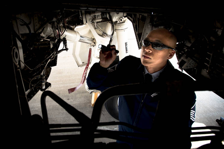 Master Sgt. Kristofer Reyes, a 99th Airlift Squadron flight engineer, inspects a C-37A at Joint Base Andrews, Md., June 7, 2016. Reyes is responsible for monitoring and maintaining the mechanical and electrical systems on the C-37A, which is a highly modified Gulfstream G5, and is used, along with the VC-25, C-20B, C-37B, C-32A and C-40B for executive airlift of the U.S. president, vice president, cabinet members, combatant commanders, and other senior military and elected leaders. (U.S. Air Force photo by Senior Master Sgt. Kevin Wallace)