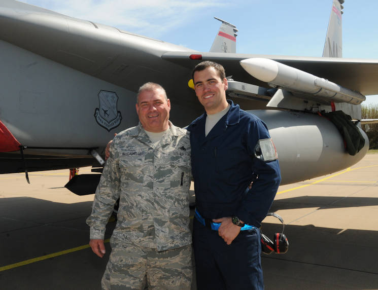 U.S. Air Force and Air National Guard Master Sgt. Donny Masciadrelli, 104th Fighter Wing avionics technician, and his son, Tech. Sgt. Danny Masciadrelli, 104th Fighter Wing F-15 crew chief, deploy together for the first time for an F-15C/D Eagle mission to the Netherlands in April 2016. They are deployed in support of Operation Atlantic Resolve along with more than 250 Airmen from the 104th as part of a theater security package, strengthening relationships and training alongside NATO allies throughout Europe. (U.S. Air National Guard photo by 1st Lt. Bonnie Harper)