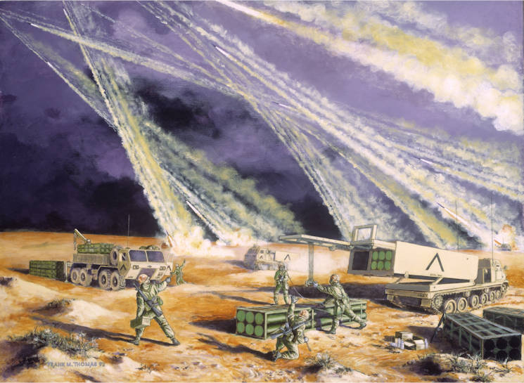 "National Guard Bureau heritage painting, ""Steel Rain: The Army National Guard in Desert Storm,"" by Frank M. Thomas. (Courtesy image)"