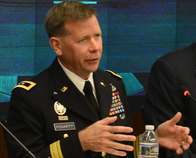 "Maj. Gen. Stephen Fogarty, commander, U.S. Army Cyber Center of Excellence and Fort Gordon, Georgia, speaks, July 14, 2016 at the ""Network Readiness in a Complex World"" panel hosted by the Association of the United States Army at AUSA headquarters in Arlington, Va. (U.S. Army photo by David Vergun)"
