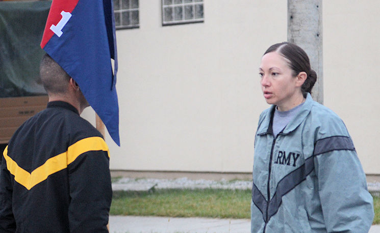 Oct. 12, 2016 - First Sgt. Gina Aceves, the senior enlisted leader of Headquarters Headquarters Company, 1st Armored Brigade Combat Team, 1st Infantry Division, leads an accountability formation prior to the start of physical readiness. Aceves joined the Army more than 20 years ago after living in financial hardship most of her life in order to provide a better life for her family. (Photo by Staff Sgt. Warren W. Wright Jr., 1st ABCT Public Affairs Office)
