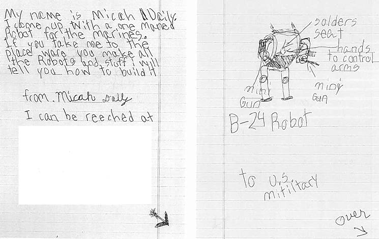 September 29, 2016 - Micah Daily, a 9-year-old boy at the time, drew a photo of a robot and wrote a note addressed to Marine Corps Recruiting Command aboard Marine Corps Base Quantico, VA in 2015. Capt. David P. Foley wrote and hand-delivered a note to Micah to attend the Modern Day Marine Military Exposition (MDMME) later that year, but could not because his grandmother became deathly ill. Foley extended the invitation to the next year, where Micah, his grandmother and his father attended the 2016 MDMME. Foley is the adjutant officer for MCRC. (Marine Corps photo by Lance Cpl. Shaehmus Sawyer)