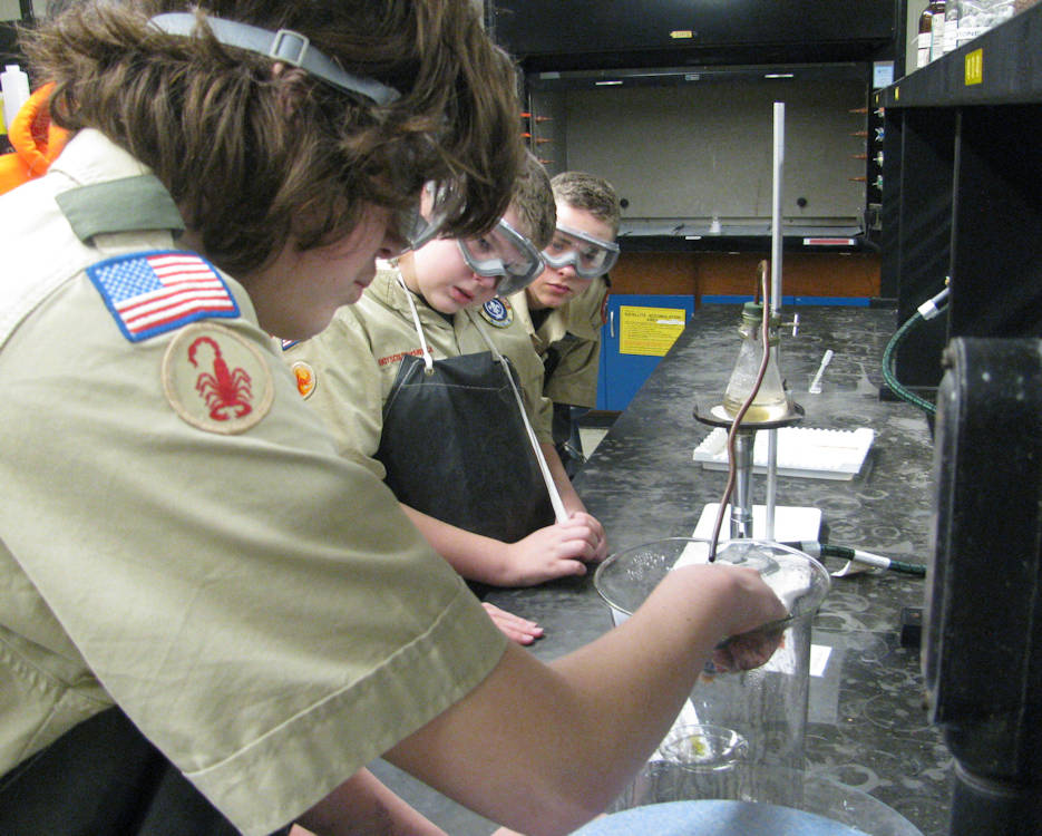 November 19, 2016 - Boy Scouts with Troop 21, Putnam, Conn., conduct an experiment to create acid rain during a STEM (science, technology, engineering and mathematics) day held for Scouts at the U. S. Coast Guard Academy in New London. More than 120 Scouts from five states attended the annual event. (U.S. Coast Guard courtesy photo by John D. Ryan)