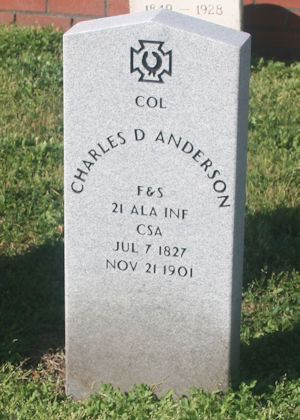 Headstone of Lighthouse Keeper Charles DeWitt Anderson in a Galveston Cemetery. (Courtesy of Mr. Andy Hall)