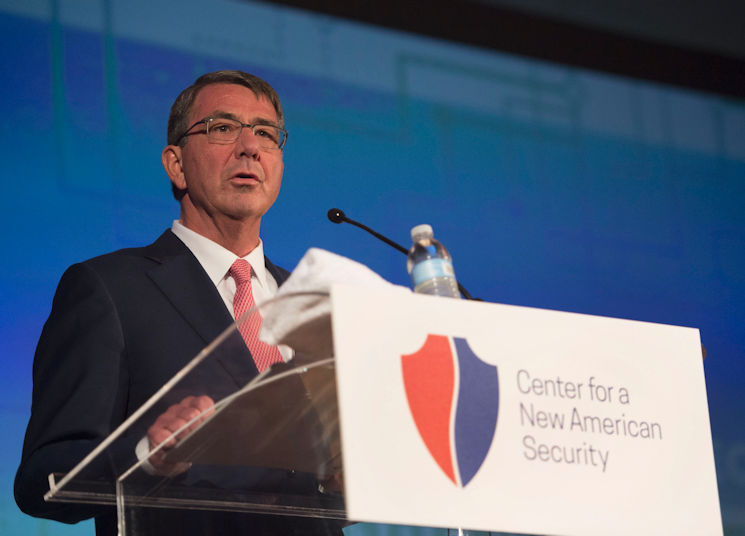 Washington D.C., June 20, 2016 - Secretary of Defense Ash Carter discusses the importance of establishing and maintaining security networks with partner nations to confront global threats during his keynote address at the Center for a New American Security 2016 Annual Conference. (DOD photo by U.S. Air Force Senior Master Sgt. Adrian Cadiz)