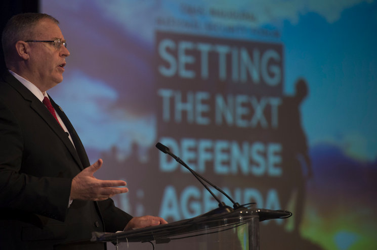 Deputy Defense Secretary Bob Work speaks at the Center for a New American Security in Washington, D.C., December 14, 2015. (DoD photo by U.S. Navy Petty Officer 1st Class Tim D. Godbee)