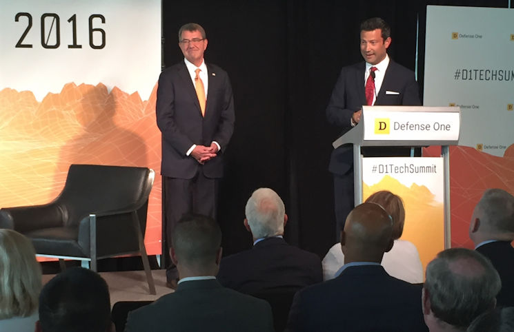 Kevin Baron, right, executive editor of Defense One, introduces Defense Secretary Ash Carter at the Defense One Tech Summit in Washington, D.C., June 10, 2016. Carter spoke about the intersection between technology and defense. (DoD photo by Jim Garamone)