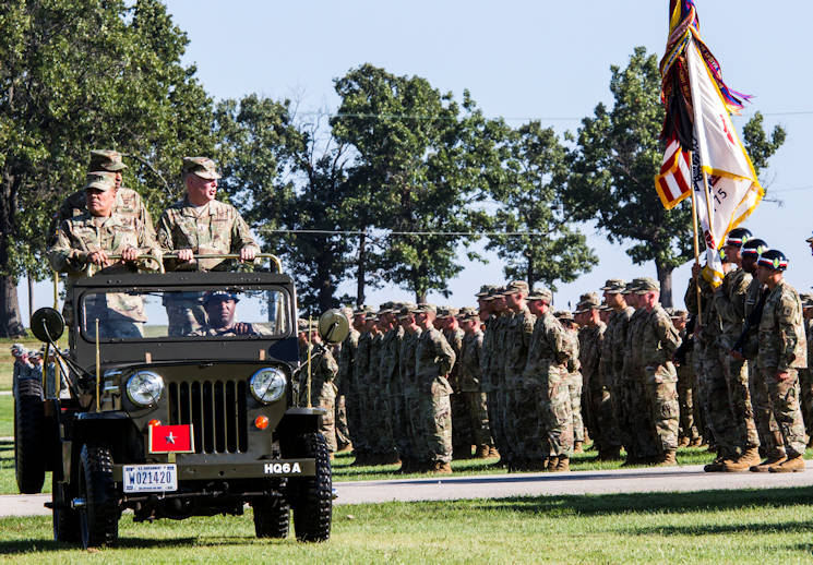 Sept. 22, 2016 - Maj. Gen. Mark Inch, provost marshal general of the Army, reviews soldiers in formation during a Regimental Review marking the Military Police Corps Regiment's 75th anniversary at Fort Leonard Wood, Missouri. MPs attended events throughout the week to mark the anniversary. (U.S. Army photo by Sgt. 1st Class Jacob Boyer)