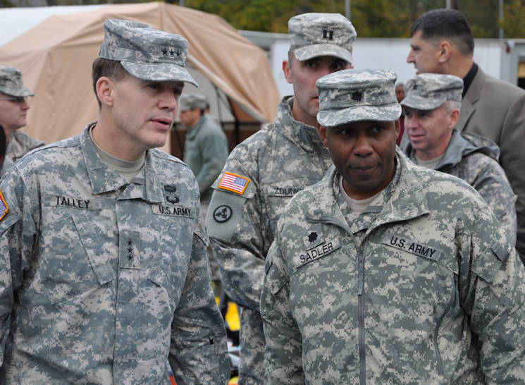 Lt. Gen. Jeffrey Talley, commanding general of the U.S. Army Reserve Command, receives a briefing from Soldiers of the 7th Civil Support Command during a demonstration of the unit's foreign consequence management capabilities in Kaiserslautern, Germany, on Nov. 5, 2015. The 7th CSC is comprised of Army Reserve Soldiers capable of providing assistance to a requesting host nation, upon request by the Department of State, to mitigate the effects of a deliberate or inadvertent chemical, biological, radiological, or nuclear attack or event, and to restore essential operations and services.(U.S. Army photo by Maj. Meritt Phillips)