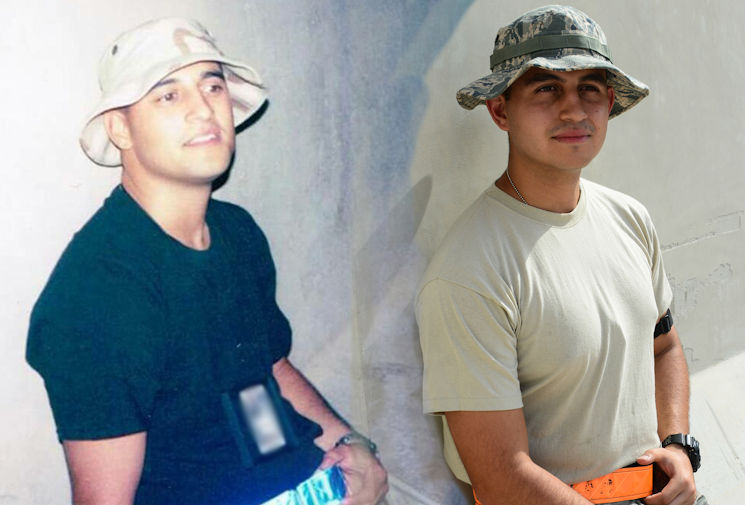 September 7, 2016 - U.S. Air Force Tech. Sgt. Gilbert Martinez, left, and Senior Airman Christopher Martinez, right. (U.S. Air Force photo illustration by Senior Airman Janelle Patino)
