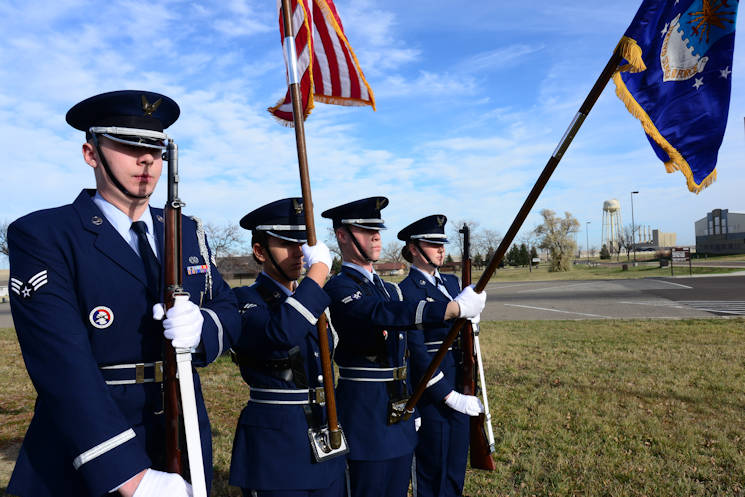 November 4, 2016 - Airman 1st Class Taylor Brown, 741st Maintenance Squadron power refrigeration and electrical lab technician and prior member of the Malmstrom Honor Guard, practices presenting the Air Force flag during a color team at Malmstrom Air Force Base, Mont. Brown recently received the honor guard member award for the third quarter for going above and beyond his peers by always being positive and having completed 44 honor guard details. (U.S. Air Force photo by Airman 1st Class Magen M. Reeves)