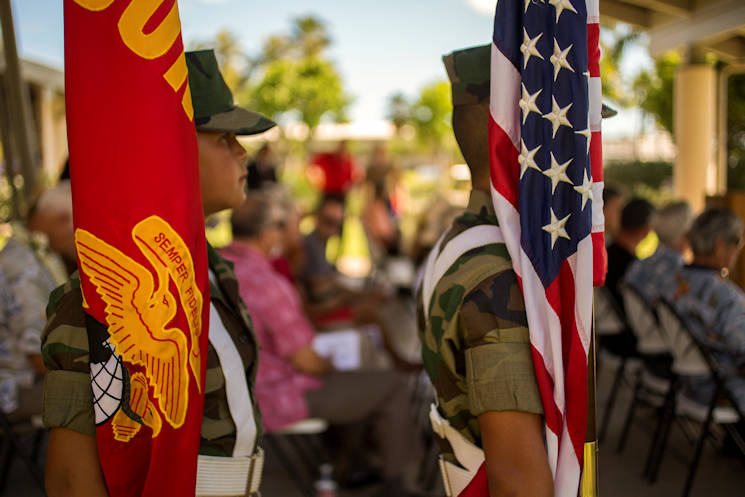 Members of Pyramid Rock Young Marines program prepare to post colors during the Marine Memorial Rededication Ceremony at the USS ARIZONA Education Center, Honolulu, Hawaii, Aug. 19, 2016. The memorial is dedicated to the 73 U.S. Marines that made the ultimate sacrifice and their 15 fellow Marines who survived the attack on Pearl Harbor. (Marine Corps photo by Lance Cpl. Robert Sweet)