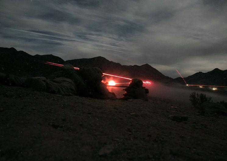 November 16, 2016 - Marines with 1st Battalion, 7th Marine Regiment, fire an M240B medium machine gun at a target at Range 400 aboard Marine Corps Air Ground Combat Center, Twentynine Palms, Calif., during the unit's night-time combined arms live-fire exercise. (U.S. Marine Corps photo by Cpl. Julio McGraw)