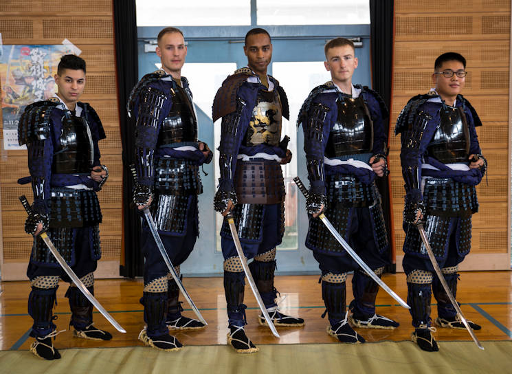 November 20, 2016 - U.S. Marines from Marine Corps Air Station Iwakuni pose for a picture at the 27th annual Kuragake Festival and Samurai Parade in Iwakuni City, Japan. The Marines were transformed from service members to samurai warroirs with traditional samurai armor, swords, spears and helmets before marching down the streets of Kuga demonstrating their strength and courage before going to battle. (U.S. Marine Corps photo by Sgt. Nicole Zurbrugg)