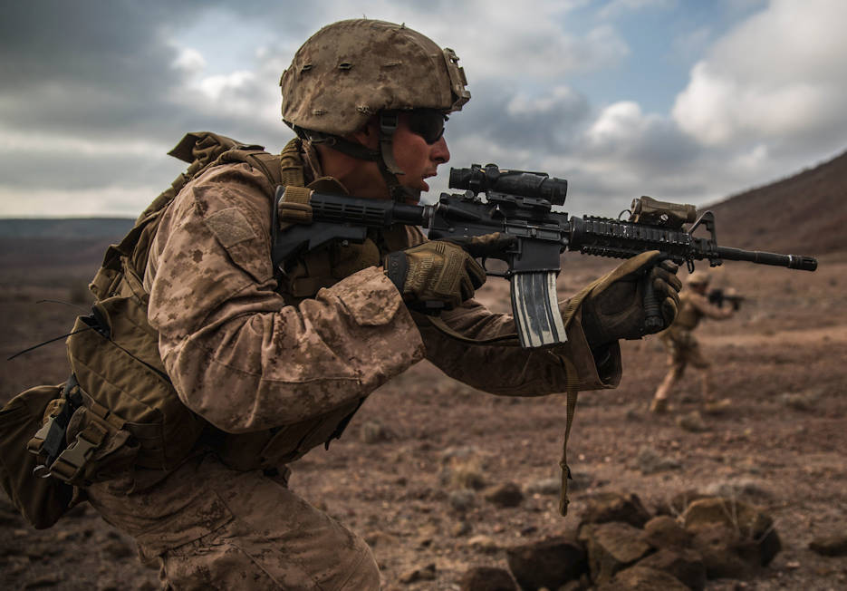 December 17, 2016 - U.S. Marines with Battalion Landing Team 1st Bn., 4th Marines, 11th Marine Expeditionary Unit, advance toward downrange targets during a squad assault rehearsal as part of Exercise Alligator Dagger. During the assault rehearsals, the Marines were tested in their abilities to react and respond to simulated fire from enemy combatants by bounding toward the objective and delivering suppressive fire as a team. The unilateral exercise provides an opportunity for the Makin Island Amphibious Ready Group and 11th MEU to train in amphibious operations within the U.S. 5th Fleet area of operations. The 11th MEU is currently supporting U.S. 5th Fleet's mission to promote and maintain stability and security in the region. (U.S. Marine Corps photo by Cpl. Devan K. Gowans)