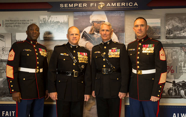 Sgt. Maj. Ronald L. Green, sergeant major of the Marine Corps, Gen. Robert B. Neller, commandant of the Marine Corps, Lt. Gen. Rex C. McMillian, commander of Marine Forces Reserve and Marine Forces North, and Sgt. Maj. Patrick L. Kimble, sergeant major of MARFORRES and MARFORNORTH, at a ribbon-cutting ceremony for the official unveiling of the Marine Corps Reserve Centennial wall display at the Pentagon, Arlington, VA on November 9, 2016. The exhibit was installed at the Pentagon in conjunction with the 100th anniversary of the Marine Corps Reserve, which was celebrated August 29, 2016. (U.S. Marine Corps photo by Sgt. Ian Leones)
