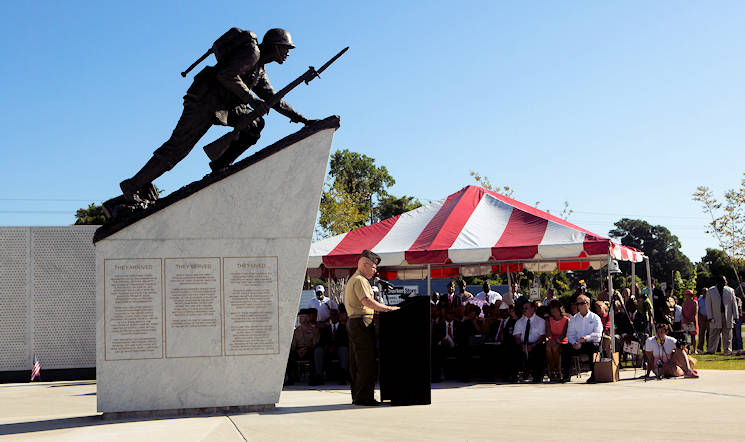 July 29, 2016 - U.S. Marine Corps Brig. Gen. Thomas Weidley, commanding general, Marine Corps Installation-East, gives his remarks during the National Montford Point Marine Memorial dedication ceremony on Camp Johnson, NC. The memorial honors the approximately 20,000 African Americans who were segregated and trained at Montford Point to become United States Marines between 1942 and 1949. (U.S. Marine Corps photo by Cpl. Christopher A. Mendoza, 2d MARDIV Combat Camera)