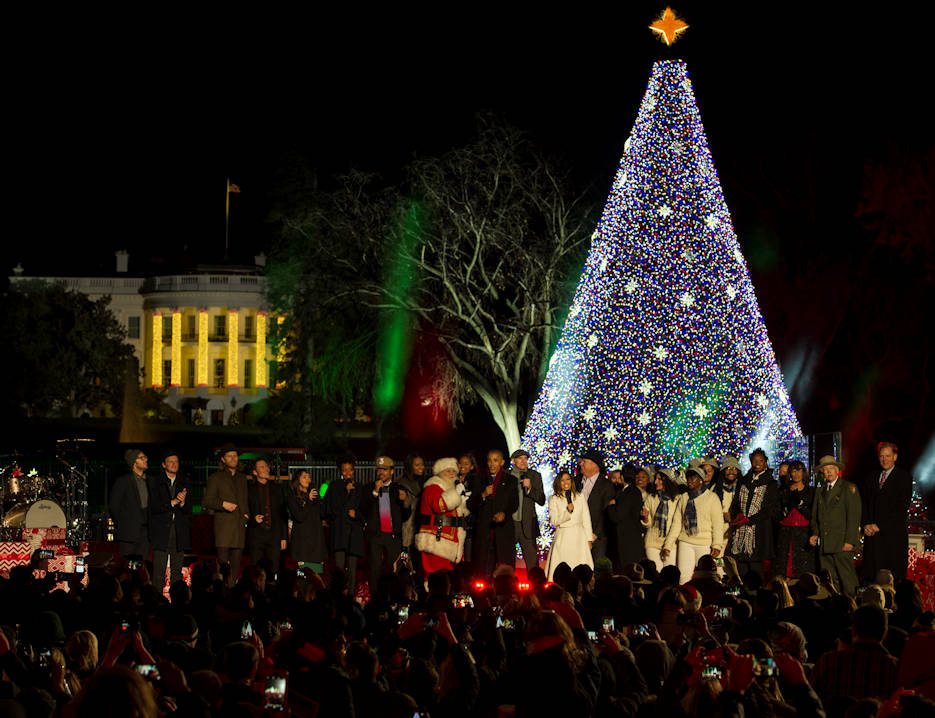 December 1, 2016 - President Barack Obama and his family and along several musical performers at the National Christmas Tree Lighting Ceremony line the stage to sing holiday tunes in Washington, D.C. Among those who performed classic holiday hits were singers James Taylor, Kelly Clarkson and Marc Anthony. (U.S. Air Force photo by Senior Airman Jordyn Fetter)