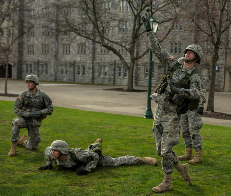 Cadets in the ROTC program at Michigan State University practice the grenade throw in preparation for the 2016 Sandhurst competition on the Plain at the United States Military Academy at West Point, April 7, 2016. Sandhurst began in 1967 as a friendly match of warrior skills between the United States Army's Corps of Cadets and the United Kingdom's Royal Military Academy Sandhurst. This year it has blossomed into a 60 team, 13 country competition. (U.S. Army photo Sgt. 1st Class Brian Hamilton)