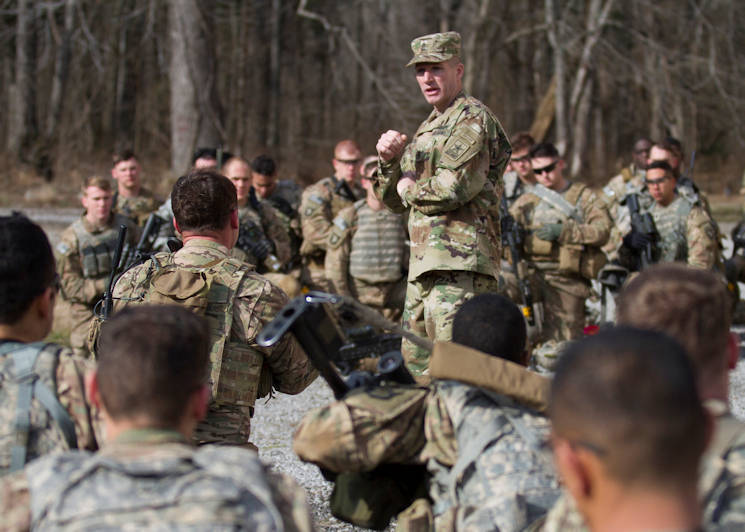Sgt. Maj. of the Army Daniel A. Dailey speaks to Soldiers from Company A, 1st Battalion, 327th Infantry Regiment, 1st Brigade Combat Team, 101st Airborne Division (Air Assault), following a live fire exercise at Fort Campbell, Ky., Jan. 28, 2016. Dailey gave the infantry Soldiers feedback about their training and encouraged them to attend Ranger School. (U.S. Army photo by Sgt. William White, 101st Airborne Division Public Affairs)