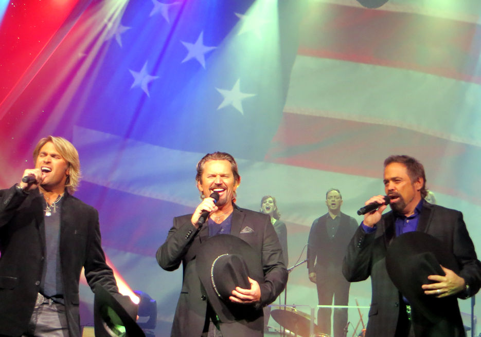 November 9, 2016 - The Texas Tenors, (L-R) Marcus Collins, JC Fisher, and John Hagen ... an Emmy Award winning classical crossover trio ... perform an inspiring patriotic song during their must see entertaining show at the Starlite Theatre in Branson, Missouri. (Photo by USA Patriotism!)