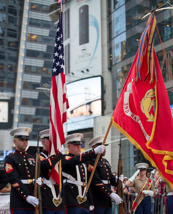August 29, 2016 - Marines with 2nd Battalion, 25th Marine Regiment, present the colors during the U.S. Marine Corps Reserve Centennial celebration at Times Square, Aug. 29, 2016. For 100 years, the Marine Corps Reserve has answered the call, serving as our nation's crisis response force and expeditionary force in readiness. The centennial celebration is a way to honor this selfless service and celebrate the Marine Corps' rich history, heritage and esprit de corps. (U.S. Marine Corps photo by Sgt. Sara Graham)