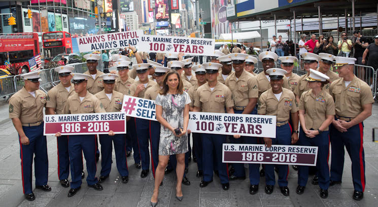 "August 29, 2016 - Marines from Brooklyn's 6th Communication Battalion take part in the filming of Good Morning America. Marines then gathered in Times Square for the ""Once a Marine, Always a Marine"" formation in celebration of the Marine Corps Reserve Centennial. For 100 years, the Marine Corps Reserve has answered the call, serving as our nation's crisis response force and expeditionary force in readiness. The centennial celebration is a way to honor that selfless service and commemorate the Marine Corps Reserve's rich history, heritage and esprit de corps. The celebration is also a way for Reserve Marines to thank their families, employers and community for their continued support. (U.S. Marine Corps photo by Sgt. Ian Leones)"