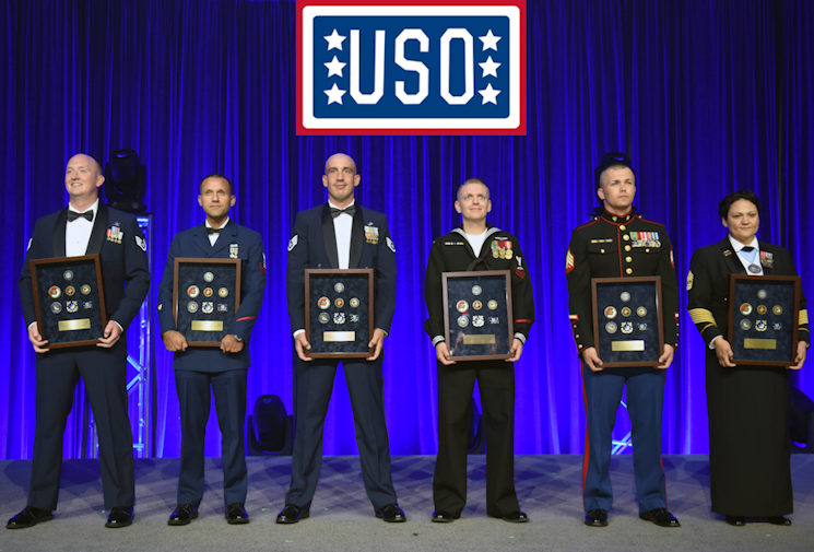 October 20, 2016 - Air Force Staff Sgt. Clinton Brown, USO National Guardsman of the Year; Coast Guard Petty Officer 2nd Class Richard Steidell, USO Coast Guardsman of the Year; Air Force Staff Sgt. Jonathan Bellio, USO Airman of the Year; Navy Petty Officer 2nd Class Gary Arbuckle, USO Sailor of the Year; Marine Sgt. Terryn Thompson, USO Marine of the Year; and Army 1st Sgt. Melanie Scott, USO Soldier of the Year, at the 2016 USO Gala, Washington, D.C. (Image created by USA Patriotism! from U.S. Army National Guard photo by Sgt. 1st Class Jim Greenhill)
