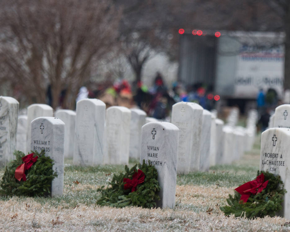 December 17, 2016 - Volunteers place wreaths at the Columbarium in Arlington National Cemetery for National Wreaths Across America Day. Wreaths Across America is a national nonprofit organization founded in 2007 to continue and expand the annual wreath-laying ceremony at Arlington National Cemetery. (DoD Photo by U.S. Army Sgt. James K. McCann)