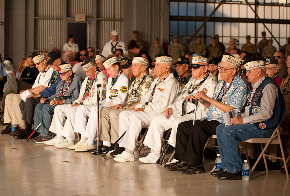 December 5, 2016 - World War II veterans attend the Wheeler Field Remembrance, in Hangar 206 . The ceremony commemorated the 75th anniversary of the attacks on Wheeler Field, Dec. 7, 1941. Wheeler Field was among several sites to be attacked by the Japanese in addition to Pearl Harbor. More than 30 were killed and more than 50 were wounded in the attacks. (U.S. Army photo by Kristen Wong)